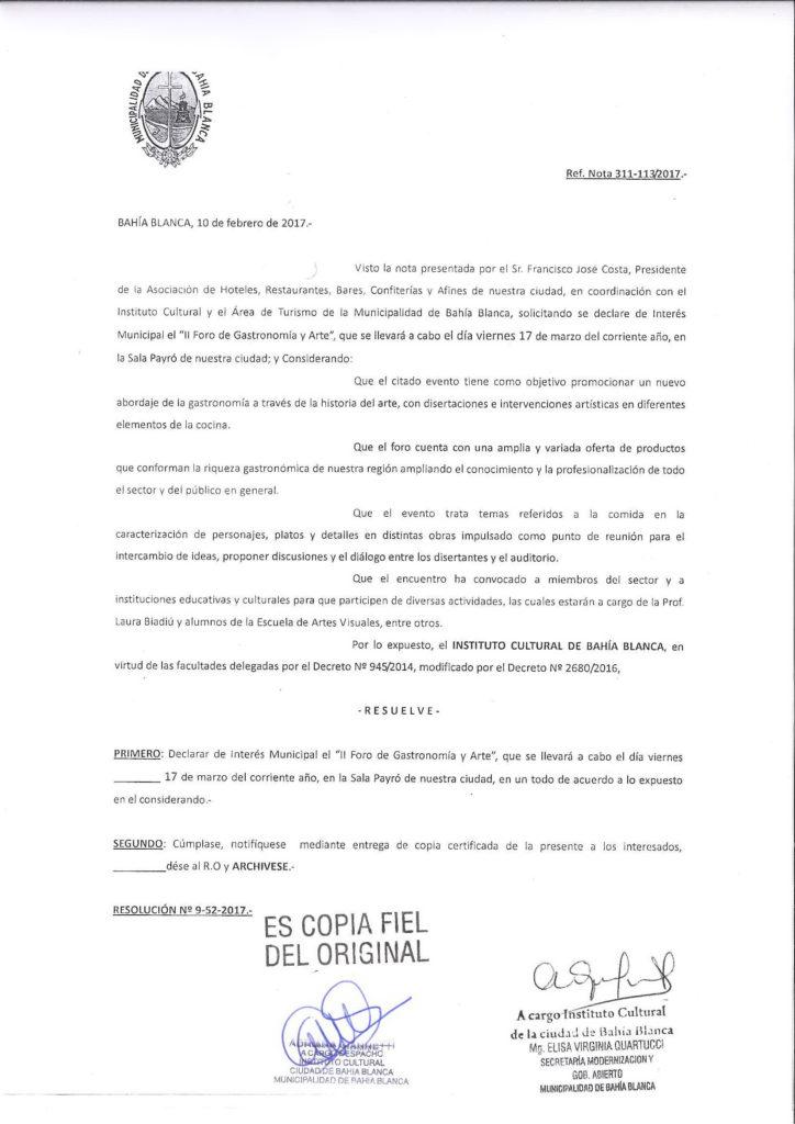 Declaratoria Interes Municipal - INSTITUTO CULTURAL